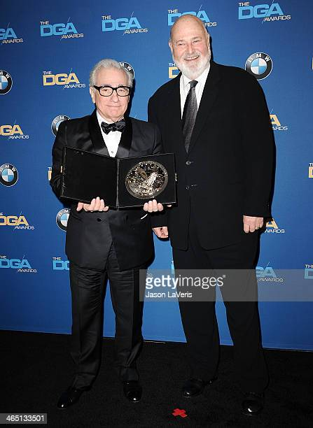 Director Martin Scorsese and actor Rob Reiner pose in the press room at the 66th annual Directors Guild of America Awards at the Hyatt Regency...