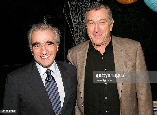 Director Martin Scorsese and actor Robert De Niro attend the 'Shark Tale' premiere at Central Park's Delacorte Theater on September 27 2004 in New...
