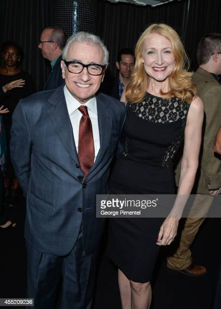 Director Martin Scorsese and actress Patricia Clarkson attend the Ebert Dinner Hosted By Chaz Ebert And Martin Scorsese during the 2014 Toronto...