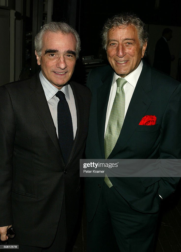 Director Martin Scorsese (L) and singer Tony Bennett pose at the Scorsese And Music Panel during the 2004 Tribeca Film Festival May 7, 2004 in New York City.
