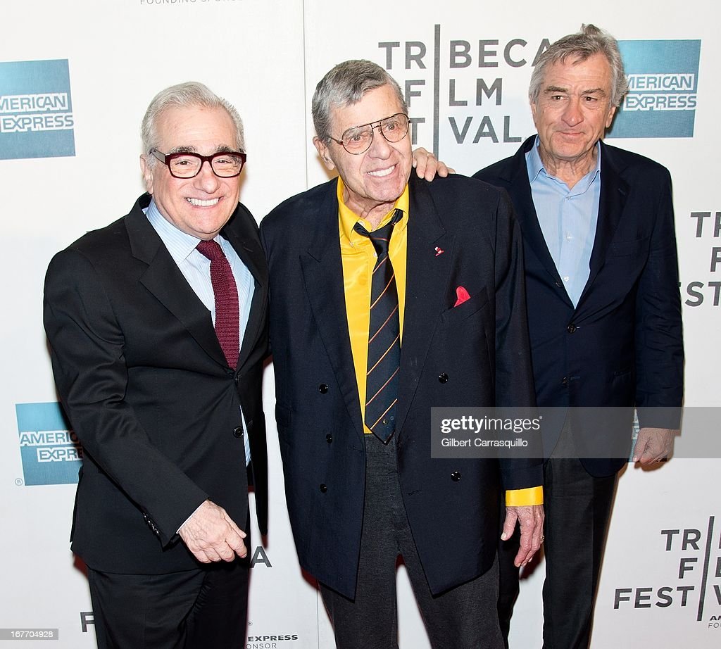Director <a gi-track='captionPersonalityLinkClicked' href=/galleries/search?phrase=Martin+Scorsese&family=editorial&specificpeople=201976 ng-click='$event.stopPropagation()'>Martin Scorsese</a>, comedian <a gi-track='captionPersonalityLinkClicked' href=/galleries/search?phrase=Jerry+Lewis+-+Comedian&family=editorial&specificpeople=202947 ng-click='$event.stopPropagation()'>Jerry Lewis</a> and Co-Founder Tribeca Film Festival <a gi-track='captionPersonalityLinkClicked' href=/galleries/search?phrase=Robert+De+Niro&family=editorial&specificpeople=201673 ng-click='$event.stopPropagation()'>Robert De Niro</a> attend the closing night screening of 'The King of Comedy' during the 2013 Tribeca Film Festival at BMCC Tribeca PAC on April 27, 2013 in New York City.