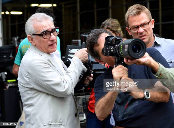 Director Martin Scorsese filming on location for 'The Wolf Of Wall Street' on Pine Street on August 25 2012 in New York City