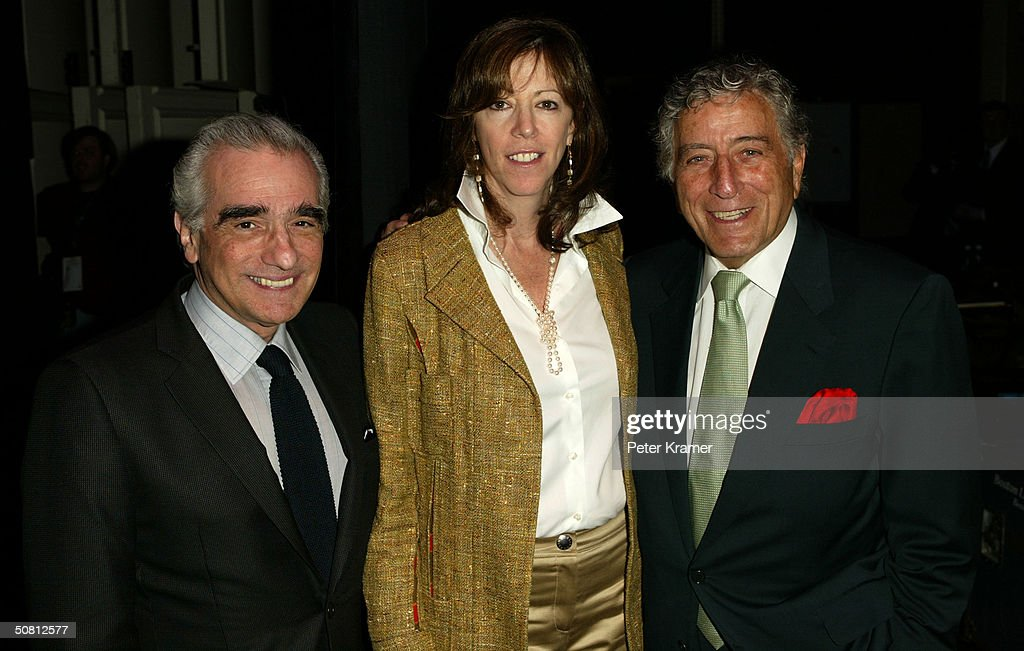 Director Martin Scorsese, Jane Rosenthal and singer Tony Bennett pose at the Scorsese And Music Panel during the 2004 Tribeca Film Festival May 7, 2004 in New York City.