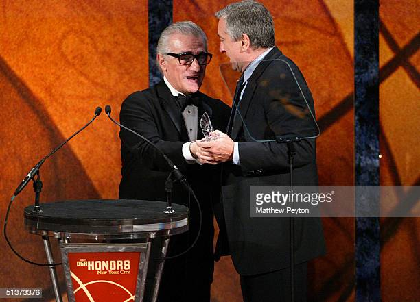 Director Martin Scorsese presents actor Robert De Niro with an award at the 5th Annual Directors Guild Of America Honors at the Waldorf Astoria Hotel...