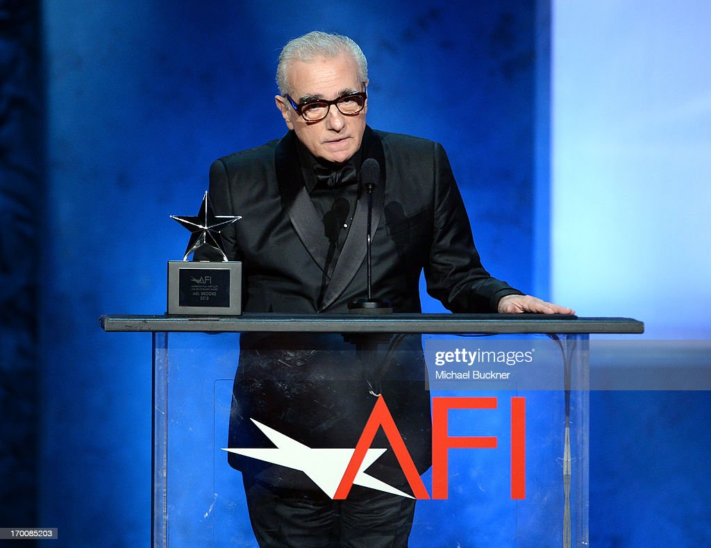 Director <a gi-track='captionPersonalityLinkClicked' href=/galleries/search?phrase=Martin+Scorsese&family=editorial&specificpeople=201976 ng-click='$event.stopPropagation()'>Martin Scorsese</a> speaks onstage during AFI's 41st Life Achievement Award Tribute to Mel Brooks at Dolby Theatre on June 6, 2013 in Hollywood, California. 23647_002_MB_2333.JPG