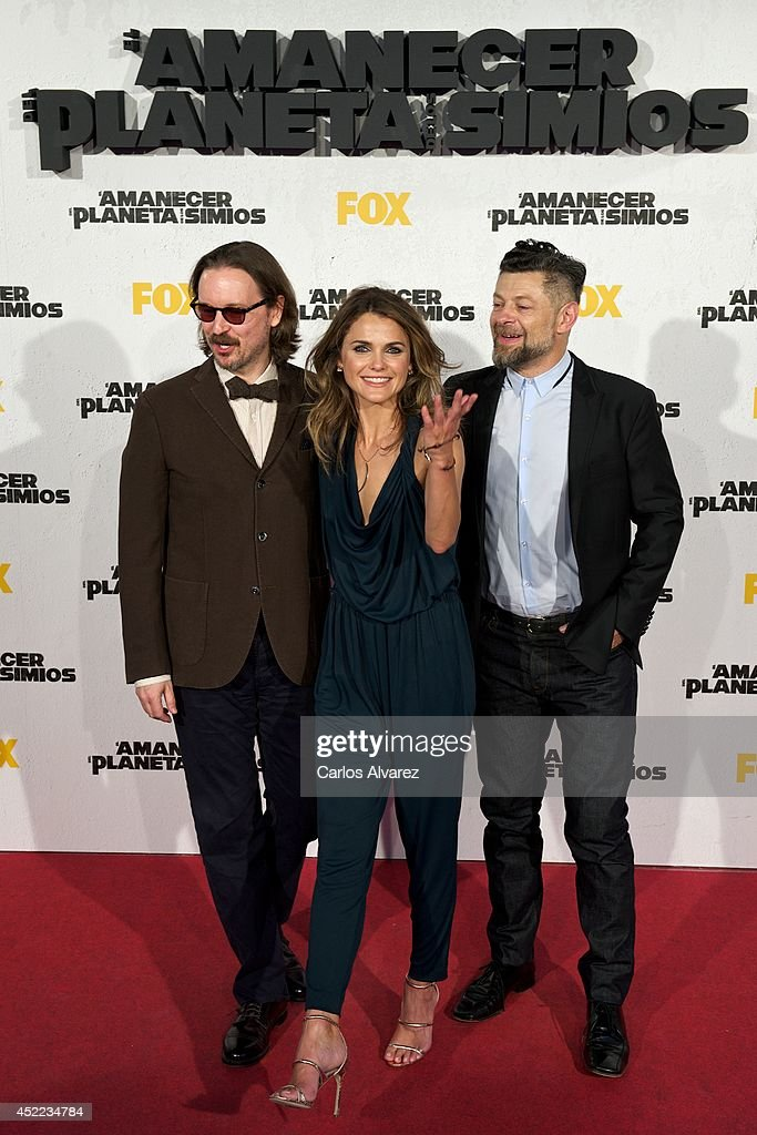 Director Matt Reeves actress Keri Russell and actor Andy Serkis attend the 'Dawn of the Planet of the Apes' premiere at the Capitol cinema on July 16...