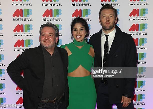 Director Matthew Saville Actress Sarah Roberts and Actor Joel Edgerton pose at the Australian premiere of 'Felony' directed by Matthew Saville at...