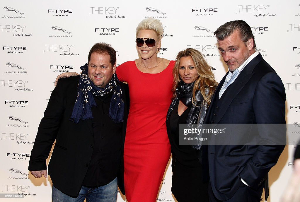 Director Mayk Azzato, <a gi-track='captionPersonalityLinkClicked' href=/galleries/search?phrase=Brigitte+Nielsen&family=editorial&specificpeople=209264 ng-click='$event.stopPropagation()'>Brigitte Nielsen</a>, Francesca Azzato and <a gi-track='captionPersonalityLinkClicked' href=/galleries/search?phrase=Ray+Stevenson&family=editorial&specificpeople=808097 ng-click='$event.stopPropagation()'>Ray Stevenson</a> attend the Jaguar F-Type commercial short movie 'The Key' premiere at e-Werk on April 13, 2013 in Berlin, Germany.