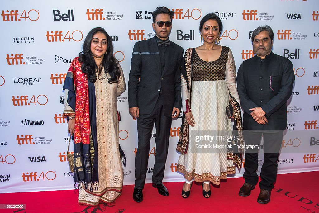 Director Meghna Gulzar, actor Irrfan khan, producer Priti Shahani and producer Vishal Bhardwaj attend the 'Guilty' photo call during the Toronto International Film Festival at the Ryerson Theatre on September 14, 2015 in Toronto, Canada.