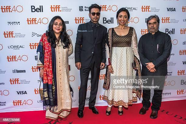 Director Meghna Gulzar actor Irrfan khan producer Priti Shahani and producer Vishal Bhardwaj attend the 'Guilty' photo call during the Toronto...