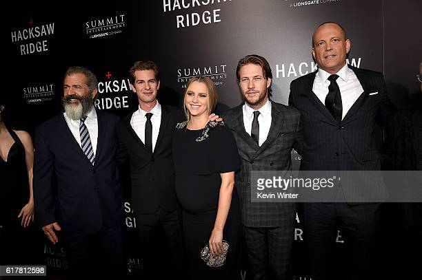 Director Mel Gibson actors Andrew Garfield Teresa Palmer Luke Bracey and Vince Vaughn attend the screening of Summit Entertainment's 'Hacksaw Ridge'...