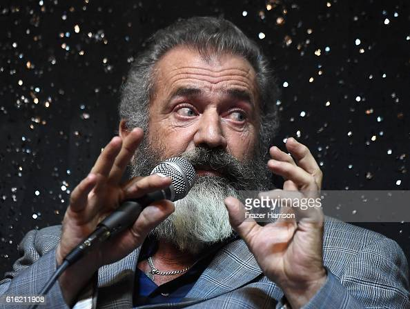 Director Mel Gibson attends Australians In Film Presents 'Hacksaw Ridge' Screening and QA with cast members at Ahrya Fine Arts Movie Theater on...