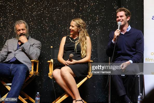 Director Mel Gibson Teresa Palmer and Andrew Garfield attend Australians In Film Presents 'Hacksaw Ridge' Screening and QA With Mel Gibson at Ahrya...