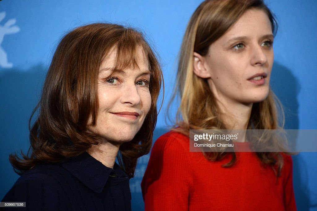 Actresses Mia Hansen-Love and Isabelle Huppert attend the 'Things to Come' (L'avenir) photo call during the 66th Berlinale International Film Festival Berlin at Grand Hyatt Hotel on February 13, 2016 in Berlin, Germany.
