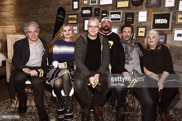 Director Michael Almereyda actors Geena Davis Tim Robbins Jon Hamm Lois Smith and Kevin Smith attends The IMDb Studio featuring the Filmmaker...