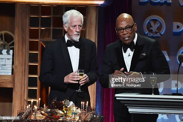 Director Michael Apted and DGA President Paris Barclay speaks onstage at the 68th Annual Directors Guild Of America Awards at the Hyatt Regency...