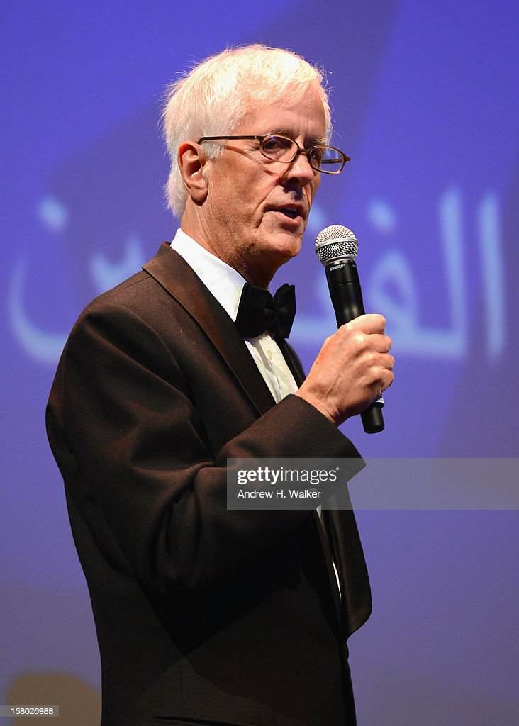 Director Michael Apted speaks on stage after receiving the Lifetime Achievement award at the Opening Ceremony during day one of the 9th Annual Dubai International Film Festival held at the Madinat Jumeriah Complex on December 9, 2012 in Dubai, United Arab Emirates.