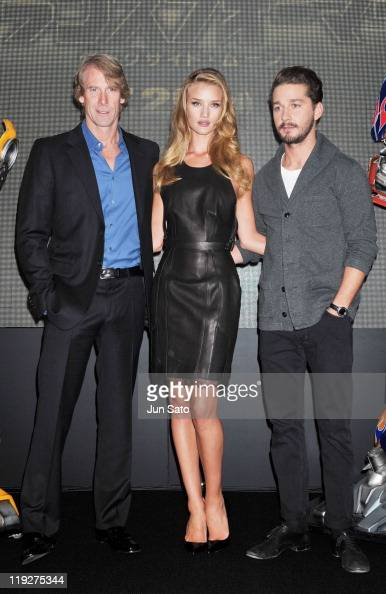 Director Michael Bay actress Rosie HuntingtonWhiteley and actor Shia LaBeouf attend the 'Transformers Dark of the Moon' press conference at the St...