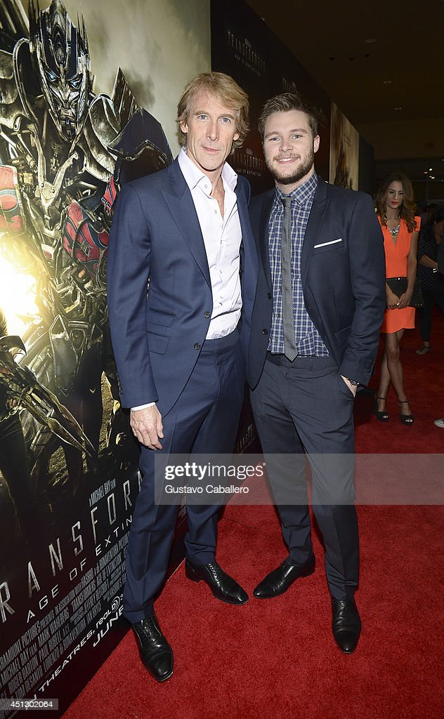 Director Michael Bay and actor Jack Reynor arrive to the Miami Special Screening of 'Transformers Age of Extinction' at Aventura Mall on June 26 2014...
