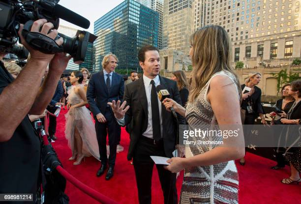 Director Michael Bay and Mark Wahlberg appear at the Transformers The Last Knight Chicago premiere at Civic Opera Building on June 20 2017 in Chicago...