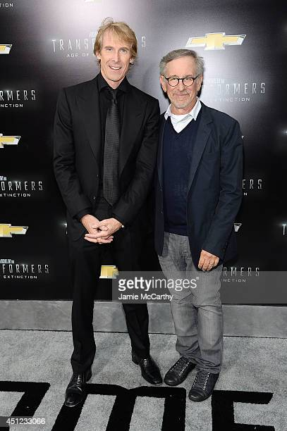Director Michael Bay and producer Steven Spielberg attend the New York Premiere of 'Transformers Age Of Extinction' at the Ziegfeld Theatre on June...