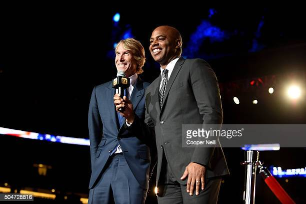 Director Michael Bay and TV personality Kevin Frazier attend the Dallas Premiere of the Paramount Pictures film '13 Hours The Secret Soldiers of...
