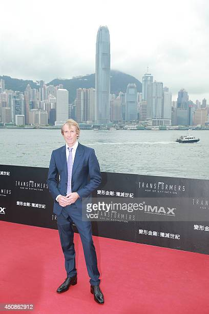 Director Michael Bay arrives at the red carpet of 'Transformers Age of Extinction' worldwide premiere at Hong Kong Cultural Centre on June 19 2014 in...