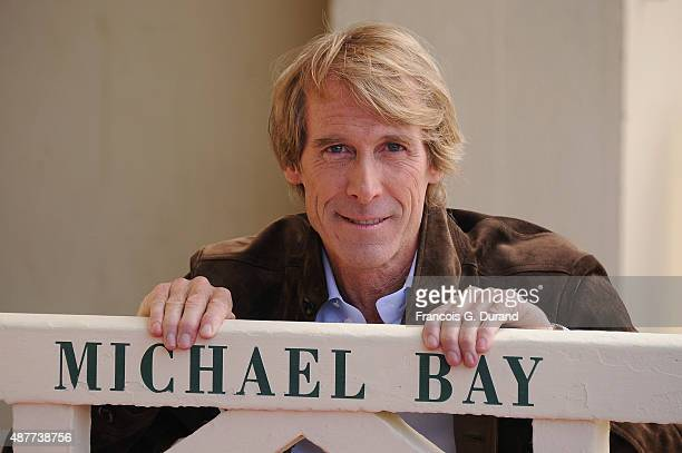 Director Michael Bay attends the unveiling of his dedicated beach locker room on the Promenade des Planches during the 41st Deauville American Film...