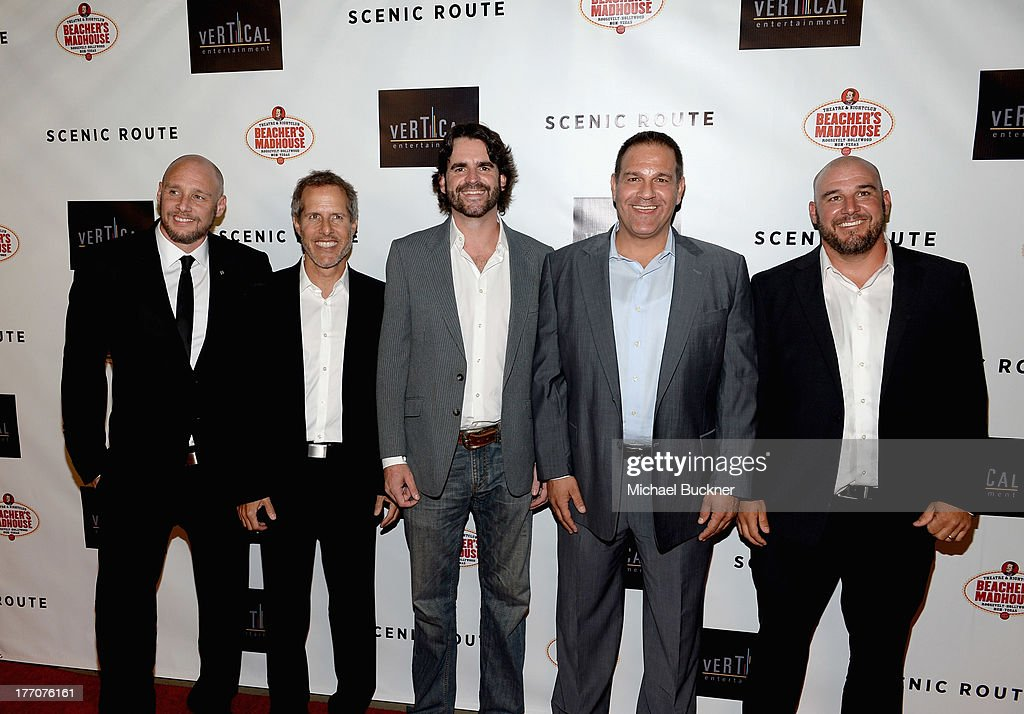 Director Michael Goetz, Co-President Vertical Entertainment Rich Goldberg, Producer Brion Hambel, Co-President Vertical Entertainment Mitch Budin, and Director Kevin Goetz arrive at the premiere of Vertical Entertainment's 'Scenic Route' at Chinese 6 Theater- Hollywood on August 20, 2013 in Hollywood, California.