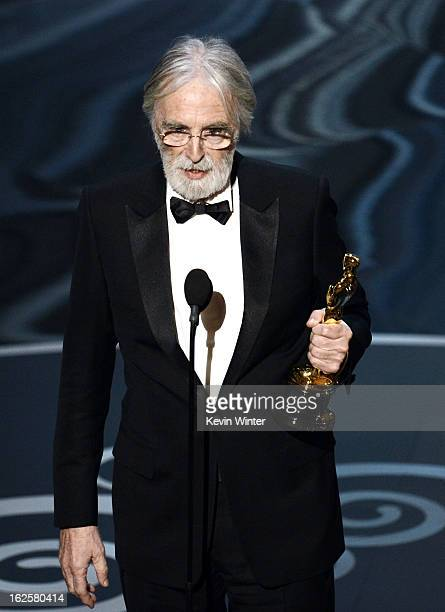 Director Michael Haneke accepts the Best Foreign Language Film award for 'Amour' onstage during the Oscars held at the Dolby Theatre on February 24...