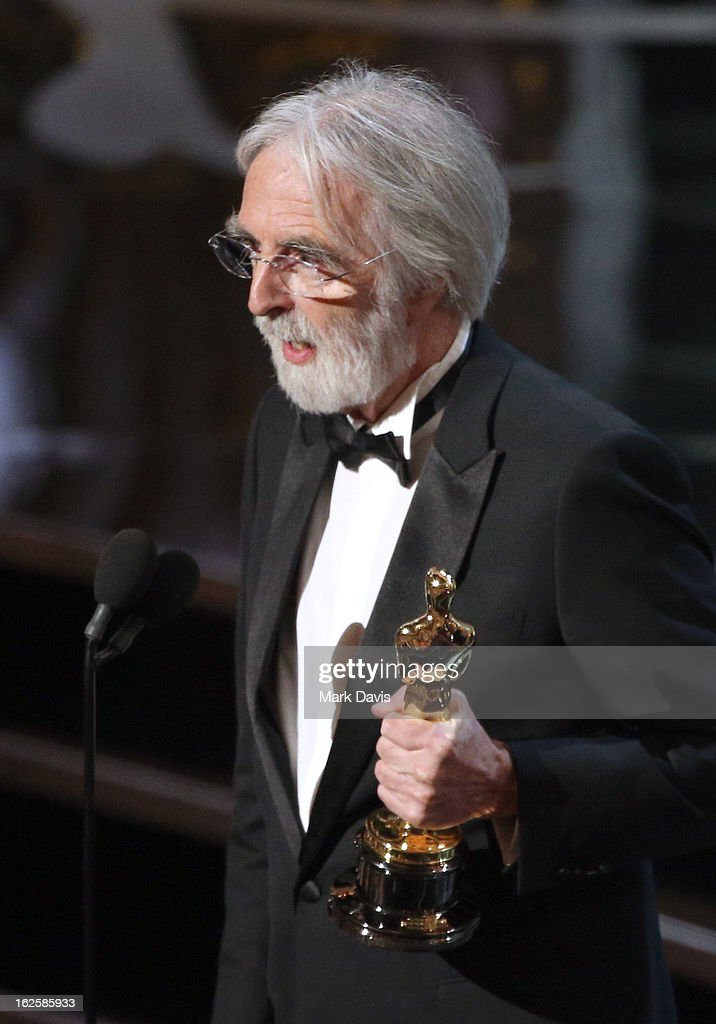Director <a gi-track='captionPersonalityLinkClicked' href=/galleries/search?phrase=Michael+Haneke&family=editorial&specificpeople=233739 ng-click='$event.stopPropagation()'>Michael Haneke</a> accepts the Best Foreign Language Film award for 'Amour' onstage during the Oscars held at the Dolby Theatre on February 24, 2013 in Hollywood, California.