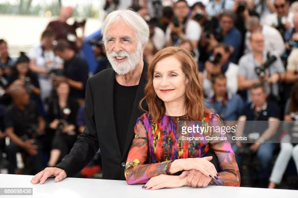 Director Michael Haneke and actress Isabelle Huppert attend the 'Happy End' photocall during the 70th annual Cannes Film Festival on May 22 2017 in...