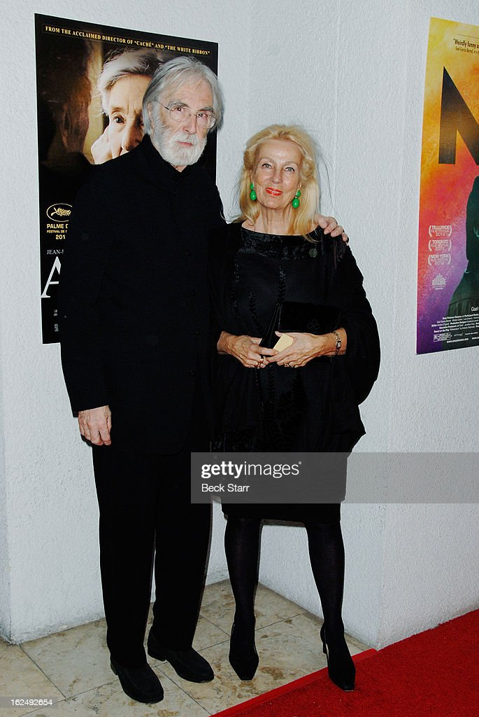 Director Michael Haneke and his wife set decorator Susanne Haneke arrive at the Sony Pictures Classics Pre-Oscar Dinner at The London Hotel on February 23, 2013 in West Hollywood, California.