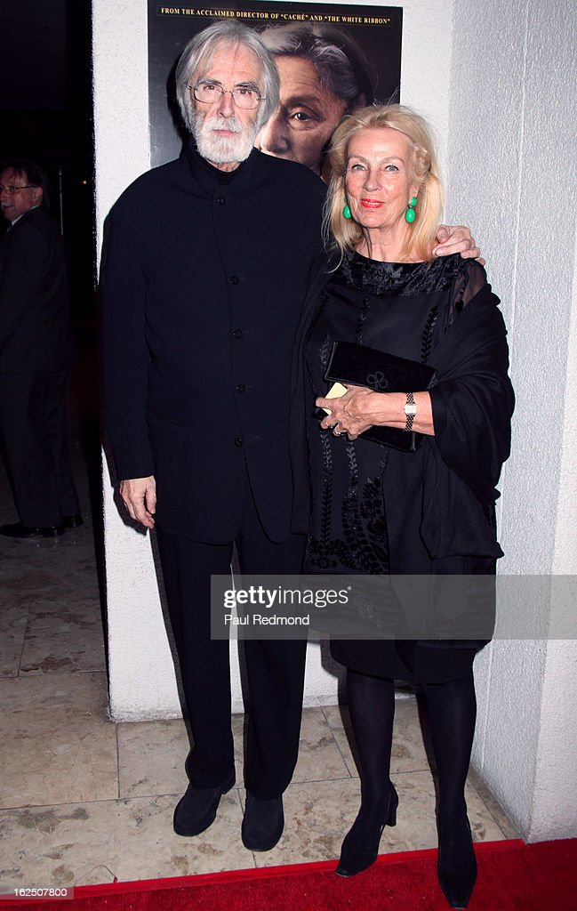 Director <a gi-track='captionPersonalityLinkClicked' href=/galleries/search?phrase=Michael+Haneke&family=editorial&specificpeople=233739 ng-click='$event.stopPropagation()'>Michael Haneke</a> and his wife set decorator Susanne Haneke attend Sony Pictures Classics Pre-Oscar Dinner at The London Hotel on February 23, 2013 in West Hollywood, California.