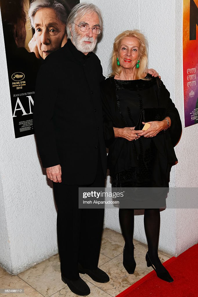Director <a gi-track='captionPersonalityLinkClicked' href=/galleries/search?phrase=Michael+Haneke&family=editorial&specificpeople=233739 ng-click='$event.stopPropagation()'>Michael Haneke</a> (L) and his wife Susanne Haneke attend the Sony Pictures Classics Pre-Oscar Dinner at The London Hotel on February 23, 2013 in West Hollywood, California.