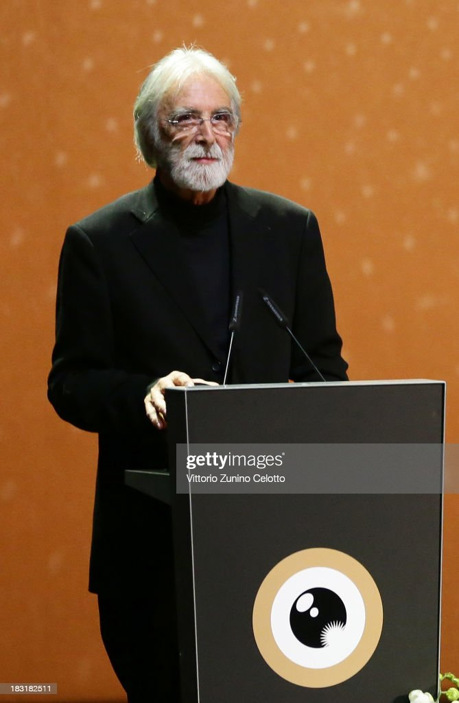 Director <a gi-track='captionPersonalityLinkClicked' href=/galleries/search?phrase=Michael+Haneke&family=editorial&specificpeople=233739 ng-click='$event.stopPropagation()'>Michael Haneke</a> attends the Zurich Film Festival 2013 award night on October 5, 2013 in Zurich, Switzerland.