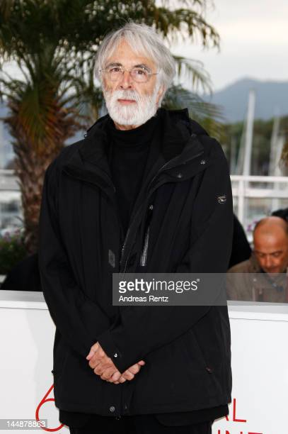Director Michael Haneke poses at the 'Amour' Photocall during the 65th Annual Cannes Film Festival at Palais des Festivals on May 20 2012 in Cannes...