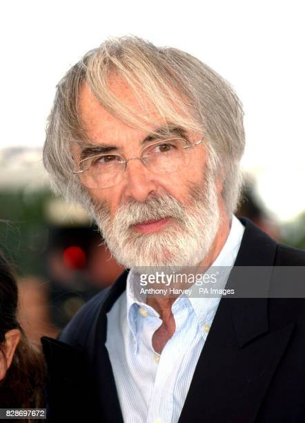 Director Michael Haneke poses for photographers at the photocall for 'Le Temps Du Loup' during the 56th Cannes film Festival in Cannes France