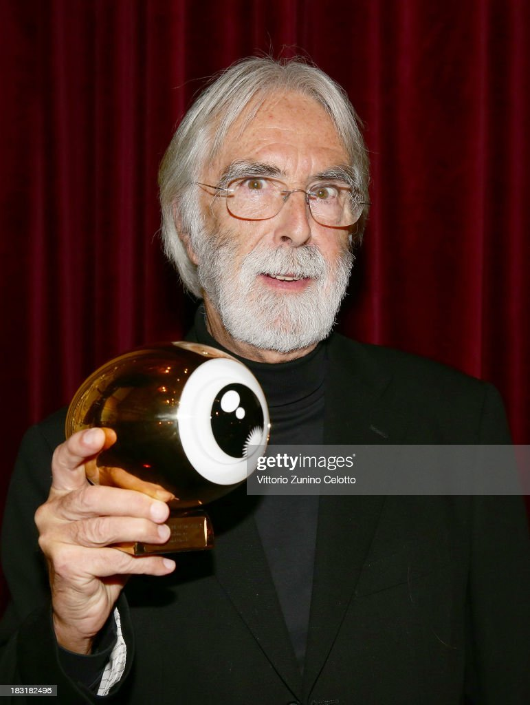 Director <a gi-track='captionPersonalityLinkClicked' href=/galleries/search?phrase=Michael+Haneke&family=editorial&specificpeople=233739 ng-click='$event.stopPropagation()'>Michael Haneke</a> poses with the 'A tribute to <a gi-track='captionPersonalityLinkClicked' href=/galleries/search?phrase=Michael+Haneke&family=editorial&specificpeople=233739 ng-click='$event.stopPropagation()'>Michael Haneke</a>' award on October 5, 2013 in Zurich, Switzerland.