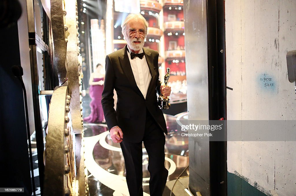 Director <a gi-track='captionPersonalityLinkClicked' href=/galleries/search?phrase=Michael+Haneke&family=editorial&specificpeople=233739 ng-click='$event.stopPropagation()'>Michael Haneke</a>, winner of the Best Foreign Language Film award for 'Amour,' backstage during the Oscars held at the Dolby Theatre on February 24, 2013 in Hollywood, California.