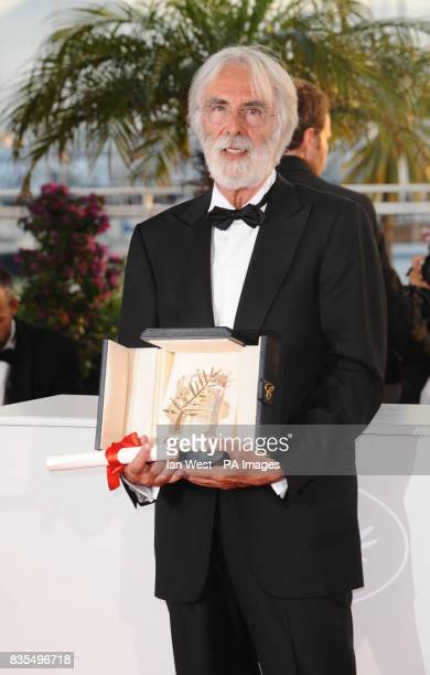 Director Michael Haneke wins the Palm D'Or for his film Das Weisse Band at the Cannes Film Festival held at the Palais de Festival In Cannes France