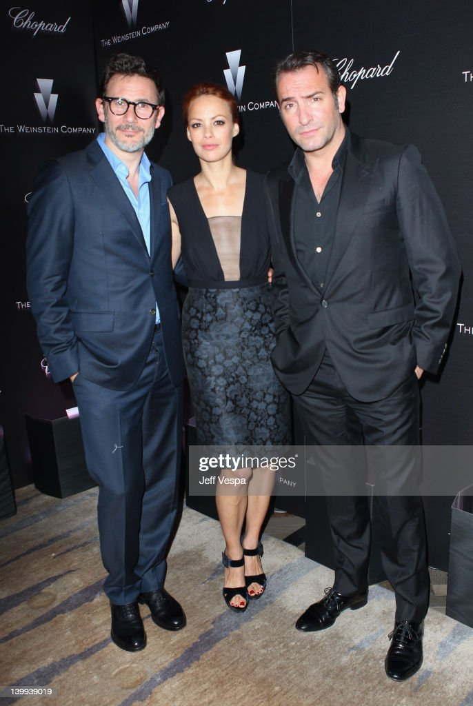 Director Michael Hazanavicius, Actors Berenice Bejo and <a gi-track='captionPersonalityLinkClicked' href=/galleries/search?phrase=Jean+Dujardin&family=editorial&specificpeople=620972 ng-click='$event.stopPropagation()'>Jean Dujardin</a> attend The Weinstein Company Celebrates The 2012 Academy Awards Presented By Chopard held at Soho House on February 25, 2012 in West Hollywood, California.