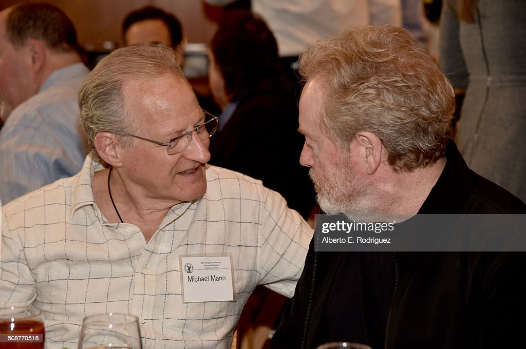 Director <a gi-track='captionPersonalityLinkClicked' href=/galleries/search?phrase=Michael+Mann&family=editorial&specificpeople=203157 ng-click='$event.stopPropagation()'>Michael Mann</a> (L) and Outstanding Directorial Achievement in Feature Film nominee <a gi-track='captionPersonalityLinkClicked' href=/galleries/search?phrase=Ridley+Scott&family=editorial&specificpeople=215470 ng-click='$event.stopPropagation()'>Ridley Scott</a> attend the 68th Annual Directors Guild Of America Awards Feature Film Symposium at Directors Guild of America on February 6, 2016 in Los Angeles, California.