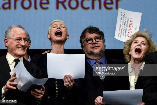 US director Michael Mann British actress Tilda Swinton Mexican Director Guillermo del Toro and Spanish actress Marisa Paredes announce the official...
