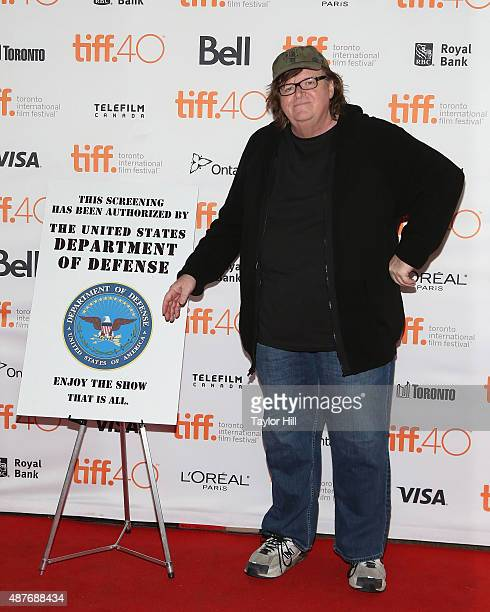 Director Michael Moore attends the premiere of 'Where to Invade Next' on day one of the 2015 Toronto International Film Festival at Princess of Wales...