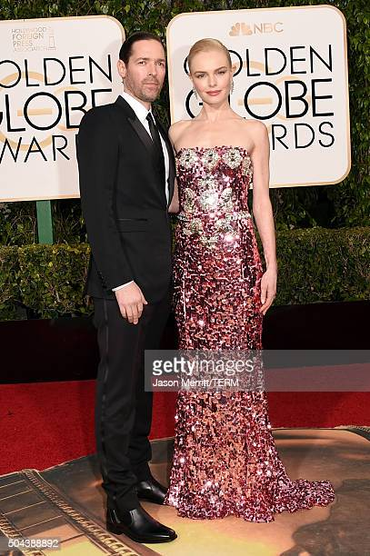 Director Michael Polish and actress Kate Bosworth attend the 73rd Annual Golden Globe Awards held at the Beverly Hilton Hotel on January 10 2016 in...