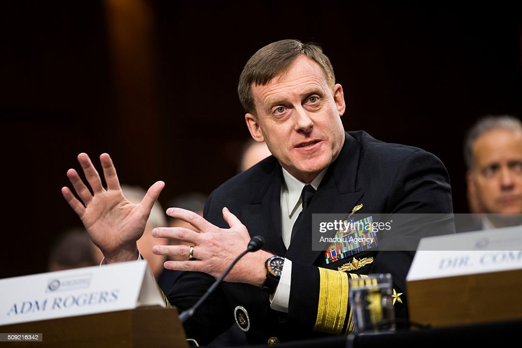 NSA Director Michael Rogers testifies during a Senate Intelligence Committee hearing in Washington, USA on February 9, 2016.