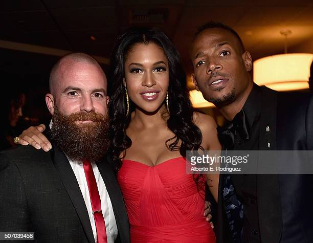 Director Michael Tiddes actress Kali Hawk and actor Marlon Wayans attend the after party for the premiere of Open Road Films' 'Fifty Shades of Black'...