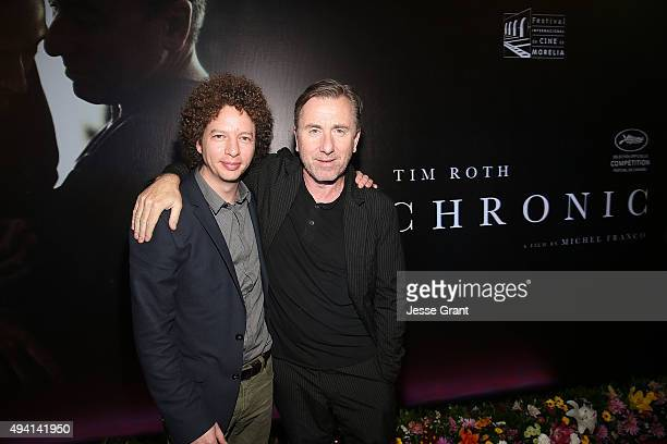 Director Michel Franco and actor Tim Roth attend the Mexican premiere of 'Chronic' during The 13th Annual Morelia International Film Festival on...
