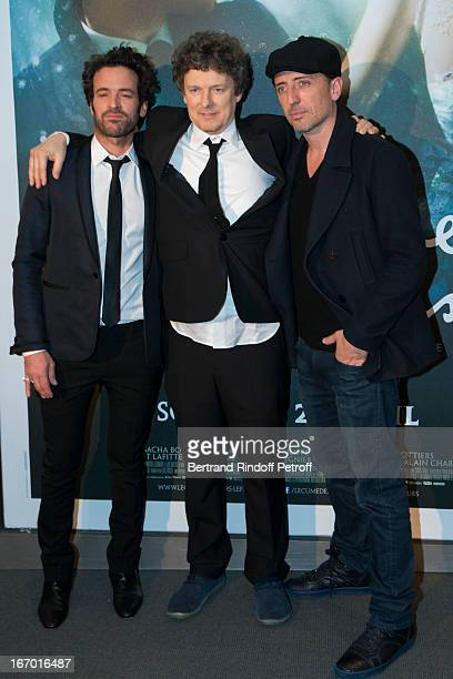 Director Michel Gondry poses with actors Romain Duris and Gad Elmaleh during the premiere of Gondry's film 'L'Ecume Des Jours' at Cinema UGC...